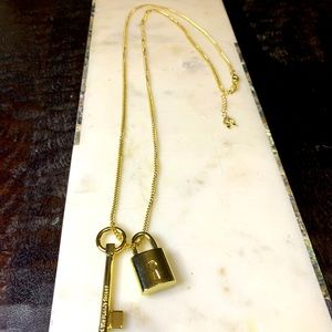 Victoria's Secret lock & key gold necklace